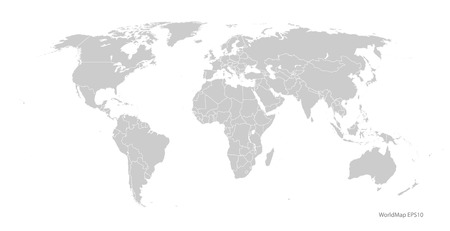 gray world map vector format Vectores