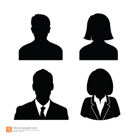 nude black woman: Set of vector men and women with business avatar profile picture Illustration