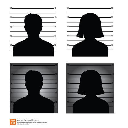 Mugshot or police lineup picture of anonymous man and woman silhouette Vector