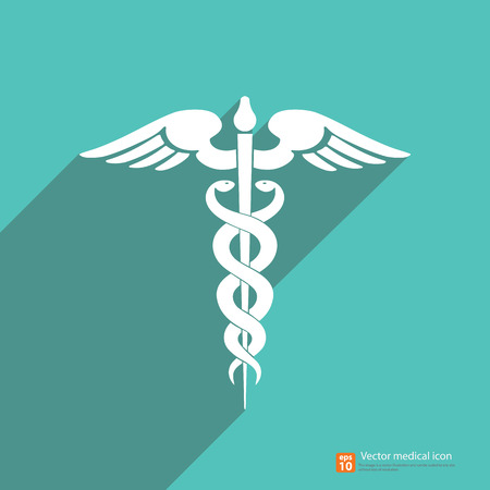 Medical vector icon ,Caduceus sign with shadow on vintage color background Illustration
