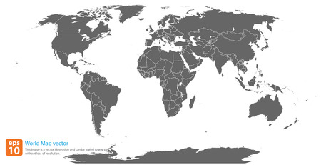 gray world map vector format Ilustrace