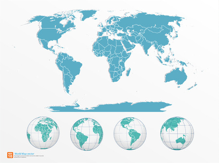 asia pacific: world map with globe vector format