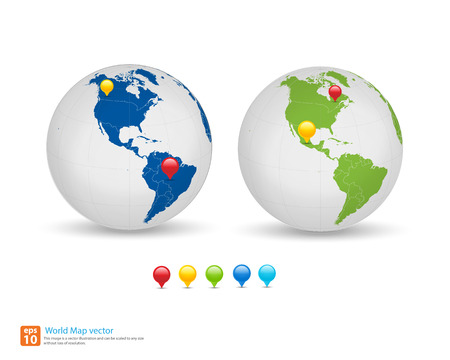 checkpoint: New world map with globe and pin marker location vector format  vector format Illustration