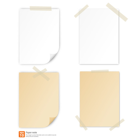 white paper and vintage paper with tape for note vector format Vector