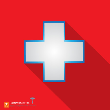 medical cross: New red first aid sign with shadow on red background Illustration
