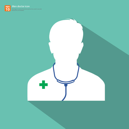 Silhouette Male doctor avatar profile picture with shadow on green vintage background Vector