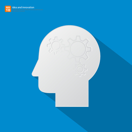 concentration gear: Human head silhouette with set of gears as a brain - idea and innovation concept