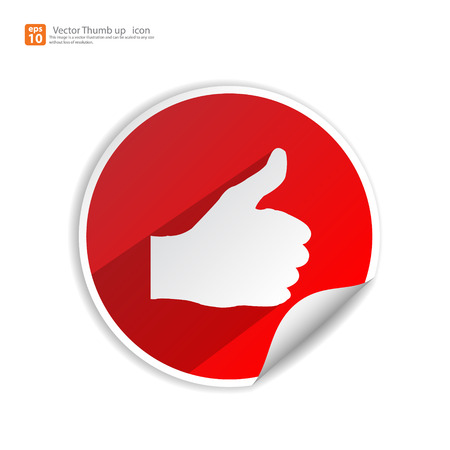 cheer up: Man Thumbs up icon with shadow on red color sticker background ,like & favorite concept