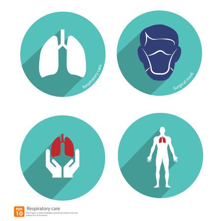 respiratory icon vector with shadow Vector