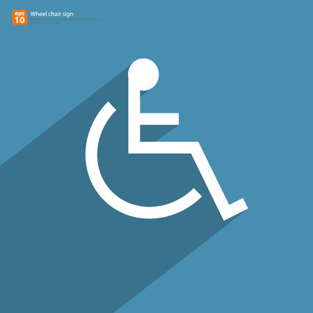 paralyze: New wheelchair sign with shadow on blue vintage vector design