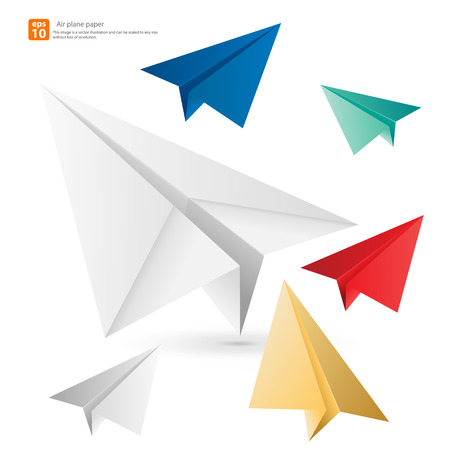 Colorful airplane paper vector design