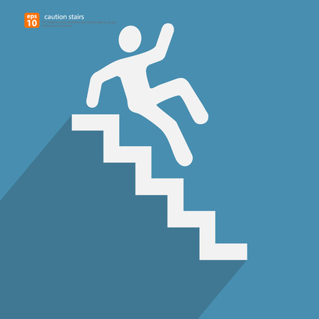 upstairs: New caution stairs icon with shadow vector design Illustration