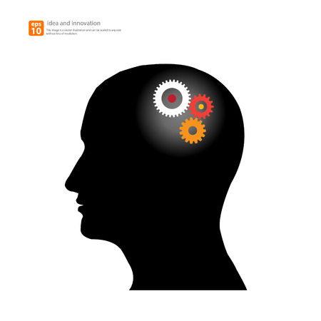 Human head silhouette with set of gears as a brain - idea and innovation concept Vector