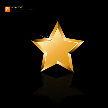 Gold star on black background vector format Vector