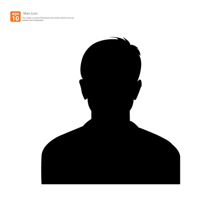 Silhouette Male avatar profile picture icon Vector