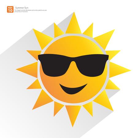 carita feliz caricatura: Nuevos hombres sol anaranjado con gafas y sombra vector verano dise�o