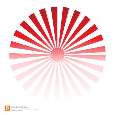 sol naciente: Nuevo Sol rojo ascendente o rayo de sol, sol r�faga dise�o vectorial