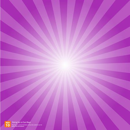 Nuevo sol púrpura ascendente o rayo de sol, sol ráfaga diseño vectorial