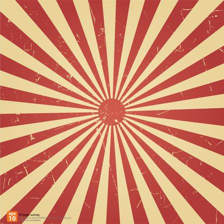słońce: Nowy wektor Vintage czerwone wschodzące słońce lub promień słońca, słońce, przedarł retro wzór tła