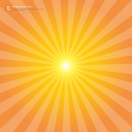 sol naciente: Naranja sol naciente Nuevo o rayo de sol, sol ráfaga diseño vectorial