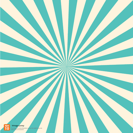 Nieuwe vector vintage hemel rijzende zon of in de zon ray, zon barstte retro design Stock Illustratie