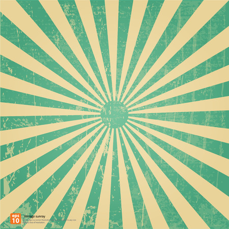 sun flares: New vector Vintage green rising sun or sun ray,sun burst retro background design