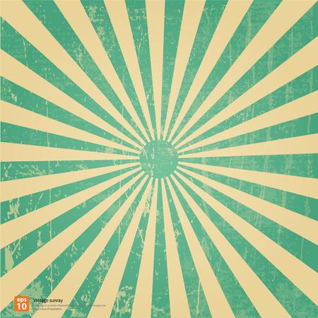 Nouveau vecteur Vintage soleil levant vert ou rayon de soleil, le soleil éclater la conception de fond rétro