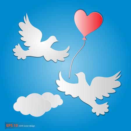 paloma caricatura: Una paloma blanca del símbolo del amor libre del vector del vuelo.