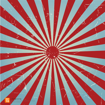 New vector Vintage red rising sun or sun ray,sun burst retro  blue background design Vector