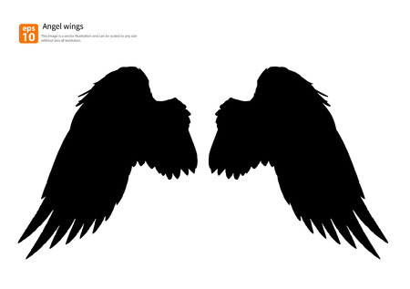 black and white image: New angel wings silhouette vector design