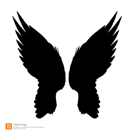angel white: New angel wings silhouette vector design