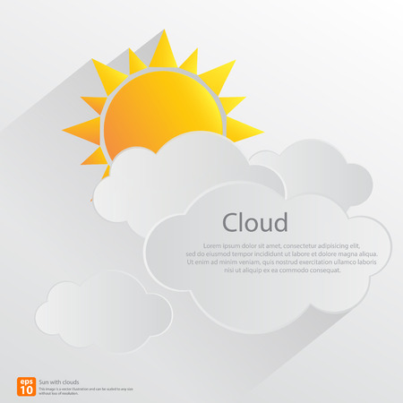 New orange sun with clouds vector design