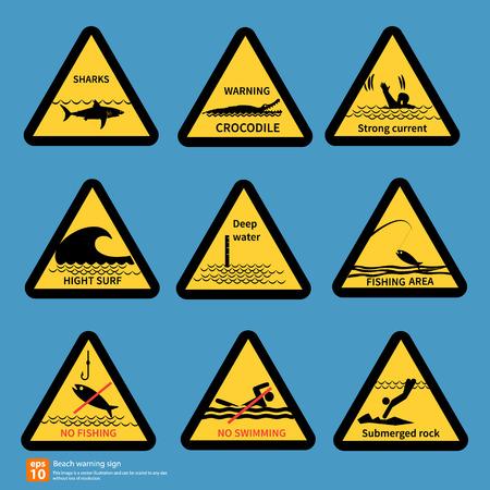 slippery warning symbol: Beach travell warning sing vector symbol design Illustration