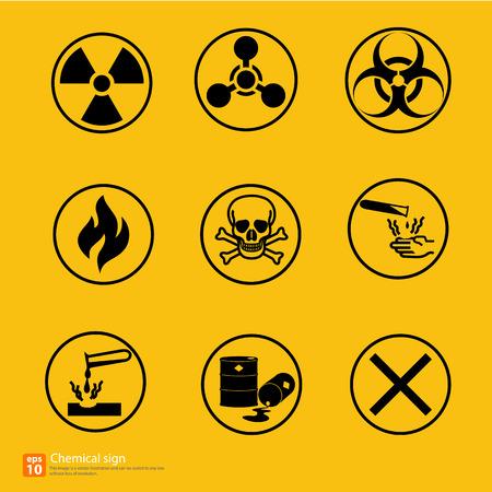 riesgo quimico: Nuevo diseño vectorial signo de alerta química Vectores
