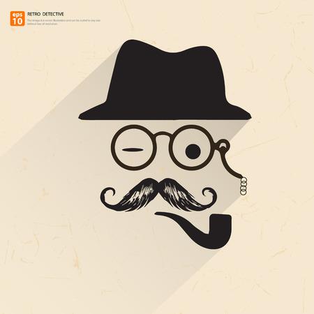 돋보기, 모자 콧수염과 금연 파이프와 아버지, 아버지 또는 형사의 복고풍 포스터 일러스트
