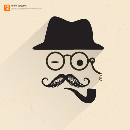 retro poster of father,dad or detective with magnifying glass, hat mustache and smoking pipe