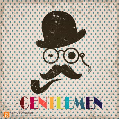 bouliste: Silhouette vintage de monsieur et chapeau melon, moustache, r�tro fond monocle