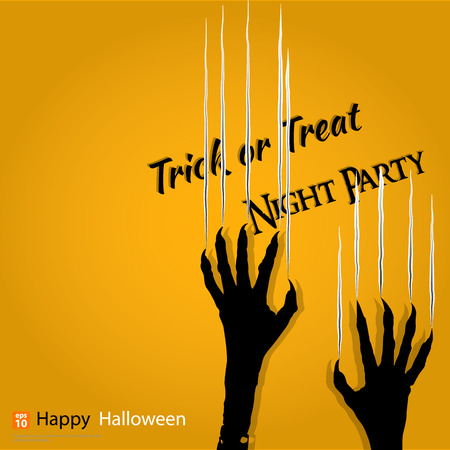 and scratching: Halloween concept with scratching marks on yellow wall from zombie nails or dracula.