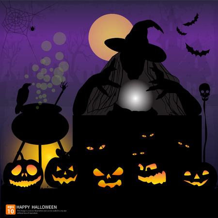 Happy Halloween night background with pumpkin and full moon  Vector illustration. Witch with Crystal Ball in Halloween at night  party Vector