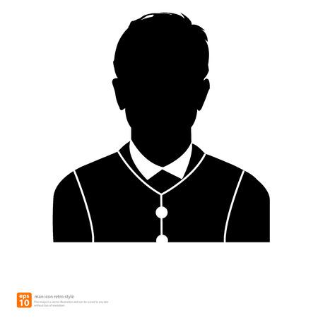 profile picture: Silhouette Male avatar profile picture icon retro and vintage style