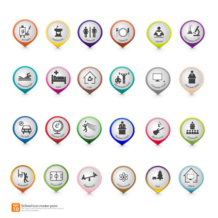 New pin point icon for school map markers vector format Vector