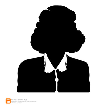 profile picture: Silhouette Female avatar profile picture icon retro and vintage style