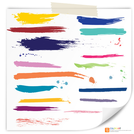 Vector set of colorful grunge brush strokes. Set of watercolor hand paint brush strokes on paper drawing