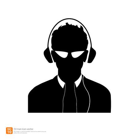 Silhouette  DJ man avatar profile pictures Vector