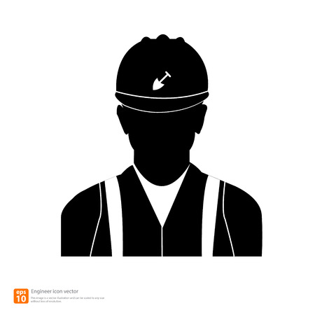 Silhouette  engineer man avatar profile pictures Vector