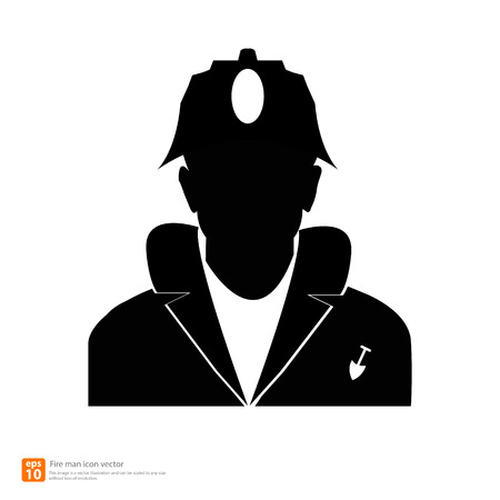 Silhouette  fireman  avatar profile pictures Vector