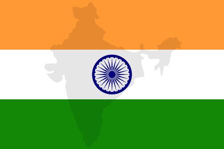 ashoka: National of  India flag with Watermark of indian map