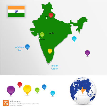 city map: New india map with  pin marker location vector format