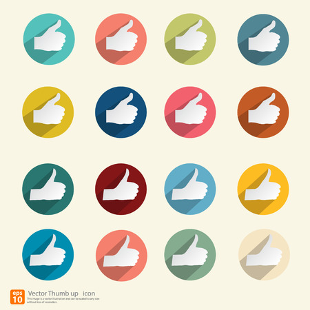 thumbs up icon: Vector Thumbs up  icon set colorful vintage style vector design
