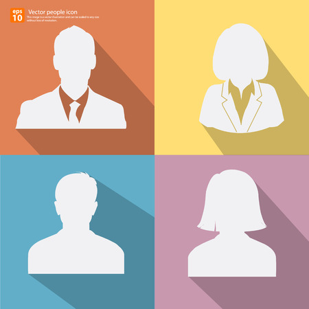 Set of Silhouette  vector men and women with business  avatar profile pictures with shadow on color vintage background Stock Illustratie